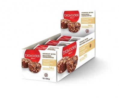Boîte de 12 bouchées croquantes au chocolat noir et amandes