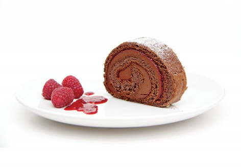 Gâteau mousse choco-framboises (roulade)