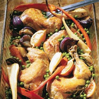 Cuisses de poulet au citron, à l'estragon et aux pois verts