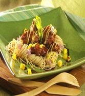 Hauts de cuisse de poulet teriyaki, sauce à la mangue