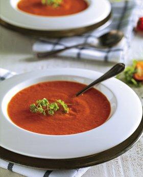 Crème de tomate, mangue et poivron