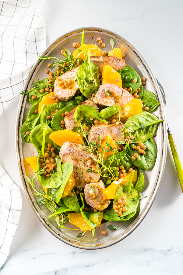 Salade filet de porc, lentilles et orange